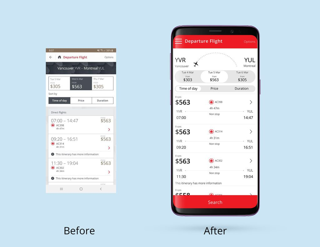 Air Canada Redesign -Departure Flight page