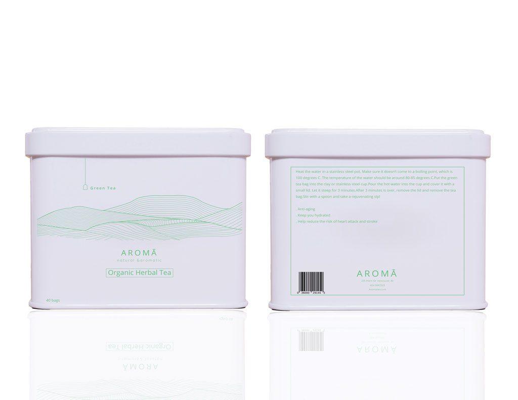 Aroma Organic Herbal Tea - Tea Bag Box front and rear